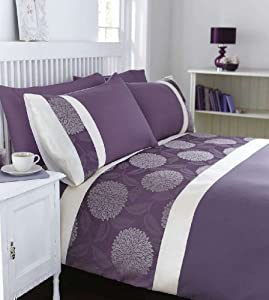 housse couette taies violet creme jacquard mural. Black Bedroom Furniture Sets. Home Design Ideas