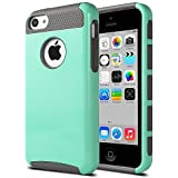 iPhone 5c Case - ULAK Dual Layer Silicone Heavy Duty Hard Shell Case Cover for Apple iPhone 5c with Clear Screen Protector (Mint + Grey)