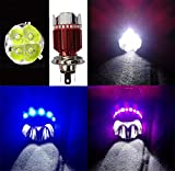 FULGENT 4 LED H4 HEADLIGHT WITH MULTI COLOR FLASHING RING FOR BIKE/ SCOOTY - WHITE.