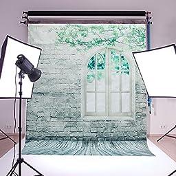 Mohoo 5x7-Feet Brick Wall Window Pattern Silk Photography Background