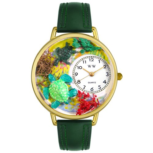 Whimsical Watches Unisex G0140003 Turtles Hunter Green Leather Watch