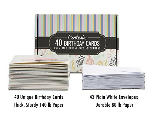 Cortesia Box Set of 40 Assorted Birthday Cards UNIQUE DESIGNS – Assorted Birthday Cards