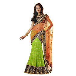 Orange Net and Faux Georgette Lehenga Style Saree with Blouse