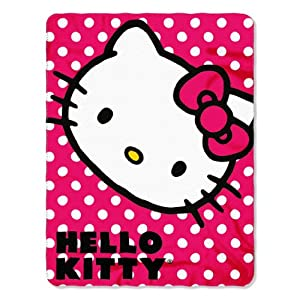 Red Polka Dot ~ Hello Kitty Fleece Blanket Throw - 46