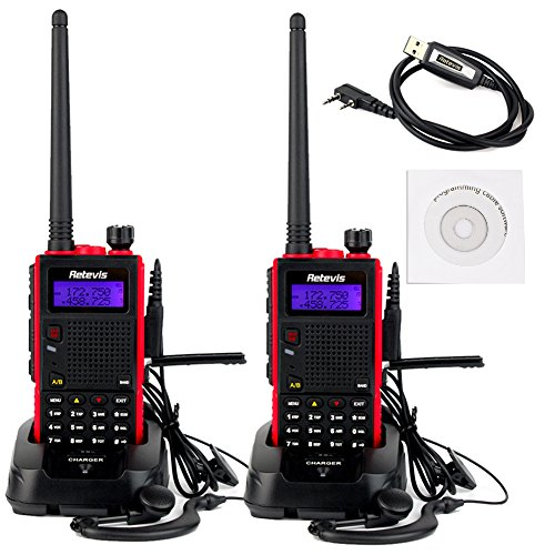 Retevis RT5 2 Way Radio 5W Dual Band VHF/ UHF 136-174/400-520 MHz 128 Channel VOX FM Radio with Earpiece (2 Pack) and Programming Cable