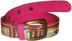 Jajv Women's Canvas Belts (VJ Acc Fram, Pink, M)