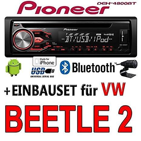 VW Beetle 2 5C - Pioneer DEH-4800BT - CD/MP3/USB Bluetooth Autoradio - Einbauset