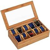 Kesper 50901 Boîte à thé en bambou 10 compartiments 36 x 20 x 9 cm