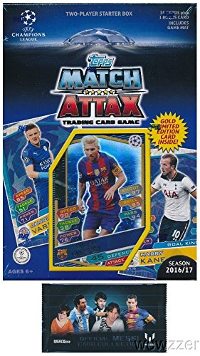 2016/2017 Topps Match Attax Champions League Soccer Starter Box with 39 Cards Including EXCLUSIVE GOLD Limited Edition Lionel Messi & 2 Goalkeeper Cards! PLUS Game Mat & Rules with BONUS Messi Pack! (Champion Premiere 2 compare prices)