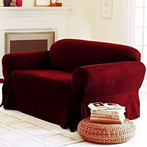 Amazon Com Solid Suede Couch Cover 3 Pc Slipcover Set