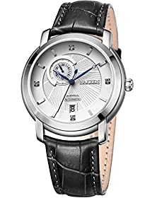 buy Nakzen Men White Dial Dress Calender Automatic Wrist Watch With Black Leather Strap