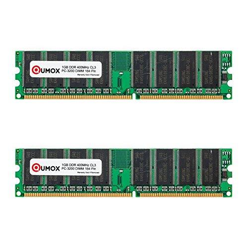 QUMOX 2GB (2X1GB) DDR DIMM (184 PIN) 400Mhz PC3200 CL 3.0 DESKTOP Memory