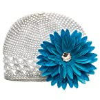 White Hat with Blue Flower