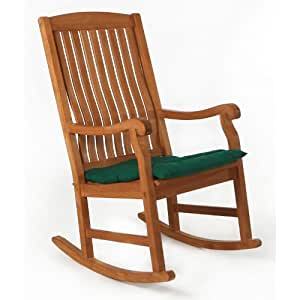 TEAK Rocker With Green Cushion Patio Rocking Chairs Patio L