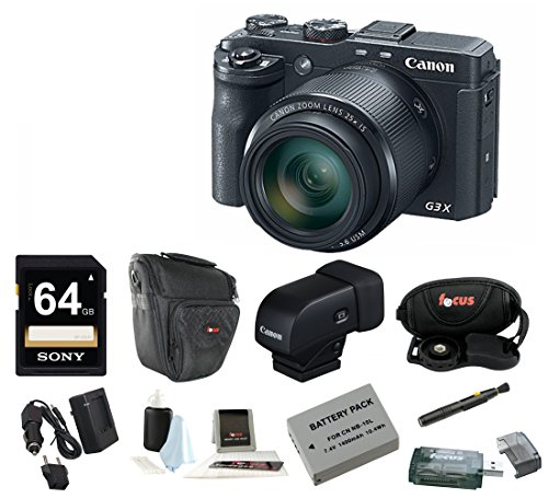 Canon PowerShot G3 X 20.2 MP Digital Camera with Canon EVF-DC1 Electronic Viewfinder  &  64GB Bundle