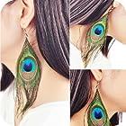 Susenstore Fashion Boho Style Peacock Feather Silvery Hook Women's Dangle Earrings