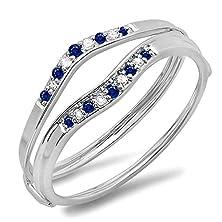 buy 10K White Gold Blue Sapphire & White Diamond Ladies Anniversary Enhancer Guard Wedding Band (Size 6)