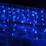 10m 500 LED Connectable Blue Icicle Lights on White Cable by Lights4Fun