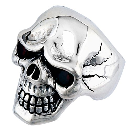 Stainless Steel Skull Ring with Red Stone Eyes Size11