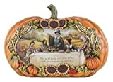 Pilgrims and Indians Thanksgivings Day Feast Pumpkin Figurine