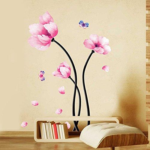 soledi-adesivi-murales-murali-decorazione-da-parete-fiore-rosa-farfalla-60x110cmfai-da-te-per-casa-h