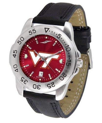 "Virginia Tech Hokies Ncaa Anochrome ""Sport"" Mens Watch (Leather Band)"