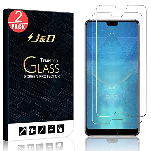 J&D [2-Pack] Huawei P20 Screen Protector, Glass Screen Protector [Tempered Glass] [Not Full Coverage] HD Clear Ballistic Glass Screen Protector for Huawei P20 - [Not for P20 Pro and P20 Lite] [+Peso($32.00 c/100gr)] (US.AZ.7.95-0-B07BT2HD5W.35120)