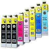 【パック】 IC6CL50+BK50(2個付) EPSON /エプソン 純正互換インクカートリッジ IC6CL50+BK50(2個付) 6色マルチパック(+BK2個付) ICチップ内蔵 残量表示機能付 SkyERISオリジナル