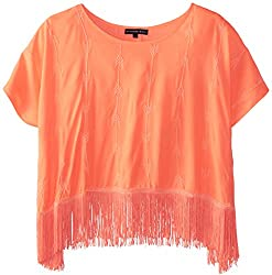 My Michelle Big Girls' Poncho Top with Fringe Trim At Hem, Orange, Small