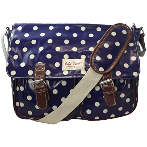 City Girl Ladies Girls Polka Dot (Spot) Flower (Floral) Print Satchel Shoulder Bag School (University) Cross Body...
