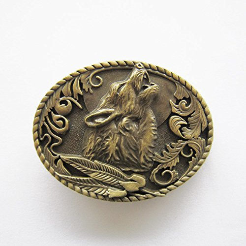 Antique Bronze Plated Wolf Western Oval Belt Buckle
