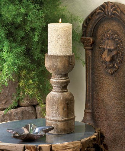 Old World Wooden Pillar Candleholder