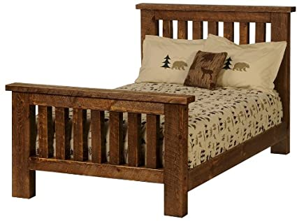 Vintage Circle Sawn Pine Twin Bed Faux Barnwood Styling