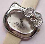 Cute Hello Kitty Bowknot Wrist Watch with Faux Leather Band – White