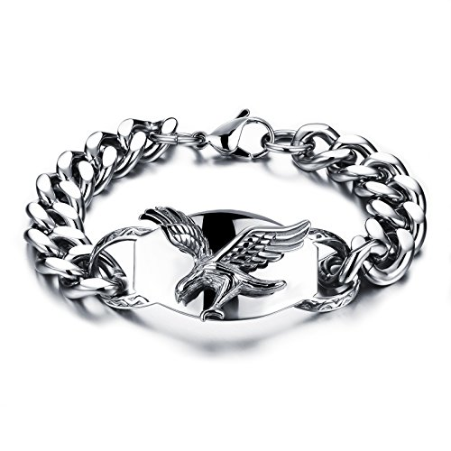 """[M. JVisun] il nuovo moderno uomini bracciale ciondolo aquila in argento, catena in acciaio inox 316L, 22"""""""