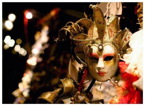 """Kunstdruck """"Maske aus Venedig"""" - 50x70x4 cm - Extraklassiges Leinwandbild, Keilrahmenbild. Unerreichbare Qualität!"""