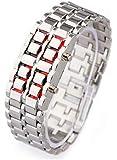 メタルバングルLED腕時計 シルバーレッド メンズ