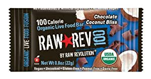 Raw Rev 100, Chocolate & Coconut 100 Calorie Organic Live Food Bar, 0.8-Ounce Bars (Pack of 26)