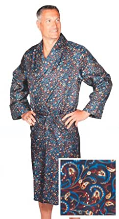 Robe de Chambre en Soie - Paisley Bleu / Rouge / Or - Homme - Peignoir (M)