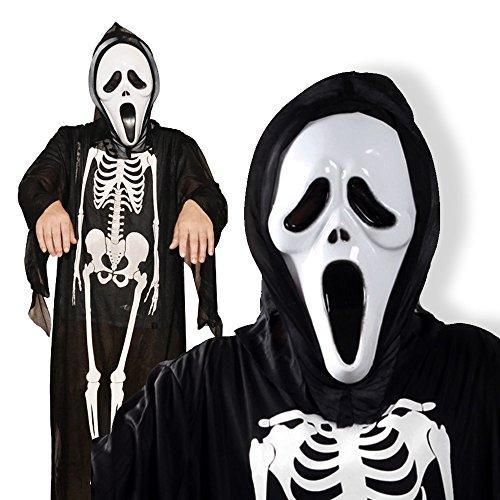 パーティーフリークGO!GO!  キッズ真っ青! 悪魔 骨丸見え 衣装 + スクリーム マスク セット 大人も子供もOK!  ハロウィン コスプレ a333 (フリーサイズ)