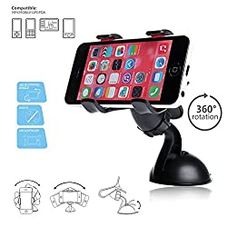 Car Mount, Costech Universal 360 Degree Smart Phone Stand Windshield Dashboard Bracket Holder for Iphone 6,6s,6plus,5S,Samsung S6,S5,N5,N4 ,Other 3.5-6.3 Inch Phones(CM1005-4)