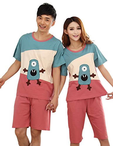 VENTELAN Couple Lover Cotton Family Cute Monster Short Sleeve Pajamas Sleepwear