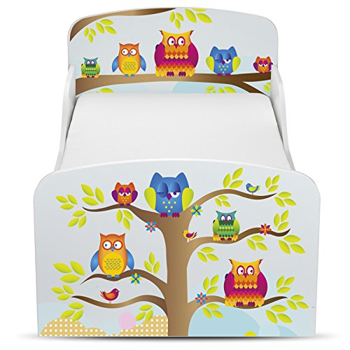 PriceRightHome Owls Design Toddler Bed with storage + Foam Mattress