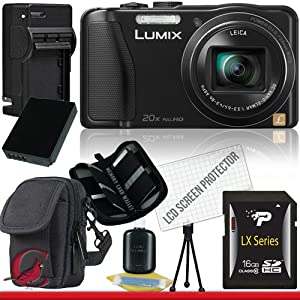Panasonic Lumix DMC-ZS25 Digital Camera (Black) 16GB Package