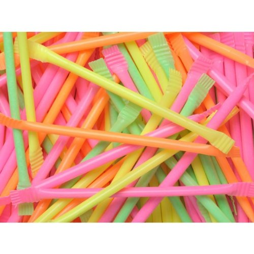 80s Party Table Decoration - 120 Neon Rainbow Sherbert Dust Straws. Add colour and fun to your party by sprinkling these straws on your tables(s). A real childhood favourite that will delight your guests.