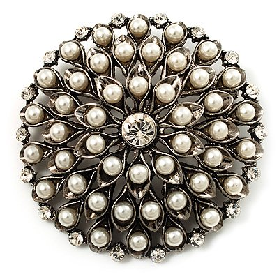 Vintage Pearl Dome Shape Brooch (Antique Silver)