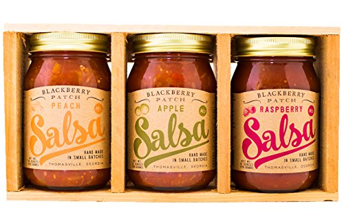 Blackberry Patch Fruit Salsa Gift Crate All Natural Handmade | Includes Peach Salsa Apple Salsa and Raspberry Salsa | Great w tortilla chips grilled seafood chicken pork. (Gift Crate, Fruit Salsa) (Georgia Peach Salsa compare prices)