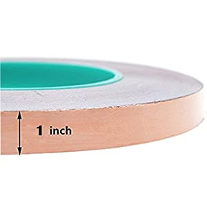 Zehhe Copper Foil Tape with Double-Sided Conductive (1inch X 21.8yards)- EMI Shielding,Stained Glass,Soldering,Electrical Repairs,Slug Repellent,Paper Circuits,Grounding (1inch) (Tamaño: 1inch)