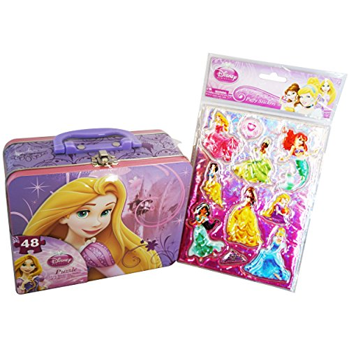 Disney-Princess-Back-to-School-and-Scrapbooking-Bundle-2-Items-Large-Tin-Lunch-Box-With-48-Piece-Puzzle-Princess-10-Puffy-Sticker-Set