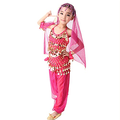 SymbolLife Kid Elegant Belly Dance Costume Set Outfit Shiny Top and Pants, Head Scarf, Waist Scarf, Bracelet, Head Scarf, Waist Scarf, Bracelet, Waist Scarf, Bracelet
